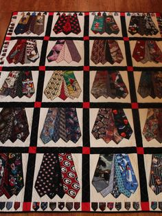 DollyWollySewing - Memory quilt of men's ties, Full size quilt of men's ties, Queen size quilt, King size quilt, Handmade quilt from men's ties Necktie Quilt, Shirt Quilt, Tie Crafts, Sewing Crafts, Quilting Projects, Quilting Designs, Tie Pillows, Old Ties, Memory Crafts