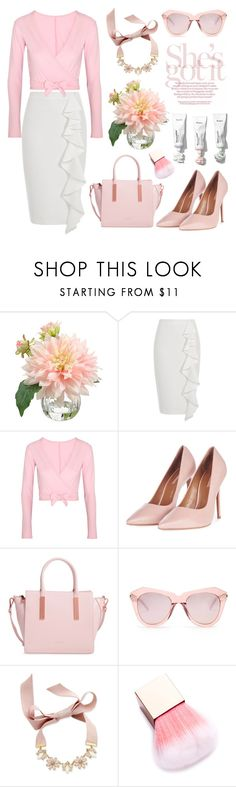"""""""Rosy Pink"""" by pure-vnom ❤ liked on Polyvore featuring River Island, Ballet Beautiful, Topshop, Ted Baker, Karen Walker and INC International Concepts"""