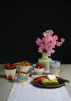 Stilllife in my living room, incl. granola, avocado on toast, poached eggs and fresh flowers <3