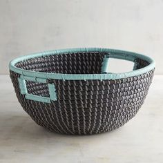 A place for everything and everything in its place, as the saying goes. Our hand-woven Natura seagrass basket features built-in handles that make it easier to organize around the house. Home Design Decor, Unique Home Decor, Home Decor Items, Basket Shelves, Storage Baskets, Decorative Storage, Decorative Bowls, Large Floor Cushions, Grey Shelves