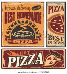 Retro metal signs set for pizzeria or Italian restaurant. Vintage pizza concept on old, rusty background.