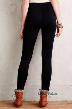 New ❤ ANTHROPOLOGIE ❤ LA FEE VERTE XS Black Vegan Faux Leather Leggings Pants #Anthropologie