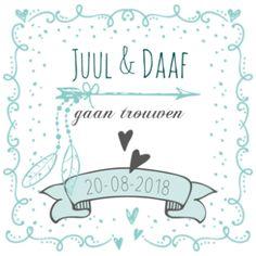 Trouwkaart mintgroen sierlijk met banier, pijl en veertjes #trouwkaartje #huwelijkskaart #huwelijksuitnodiging #mint #mintgroen #veren #veertjes #banier #vaandel #pijl