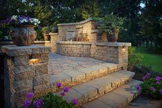 Paver Manufacturer: Belgard   Paver Style: Mega Arbel   Paver Color: Bella   Paver Pattern: Random Ashlar   Wall/Steps: Celtik Wall