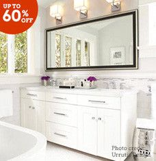 Turn pre-breakfast primping and nighttime routines into welcomed activities with these chic bathroom updates. Go all-out with sleek vanity sets, claw-foot tubs, and porcelain tile, or opt for chrome faucets and shower systems to refresh fixtures in a flash. Finish it off with linen towers and colorful shower curtains and towel sets.