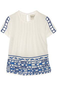 SEA Cutout embroidered cotton-voile top | NET-A-PORTER