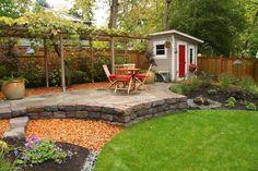 Like the different heights, grape arbor Simple Backyard Landscape Design Ideas