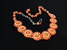 New Listings Daily - Follow Us for UpDates -  Spring Sale Description & Style:  Orange Lucite Bead Necklace - Round Flowerette Design - Inline Flowers Choker Design w Gold Tone Findings - #Vintage 1950s 1960s Fashion Er... #vintage #jewelry #teamlove #etsyretwt #ecochic #thejewelseeker