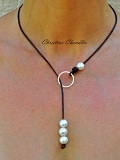 Pearl and Leather Necklace - Sterling Silver Circle Leather Necklace - Leather…