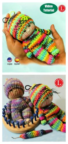 How to Loom Knitting Tiny Doll Toy - - Everyone would love the gorgeous cuteness of this Tiny Doll Toy. You should definitely try this tutorial How to Loom Knitting Tiny Doll Toy. Baby Knitting Patterns, Knitted Doll Patterns, Loom Patterns, Knitted Dolls, Crochet Dolls, Loom Crochet, Round Loom Knitting, Loom Knitting Stitches, Knifty Knitter