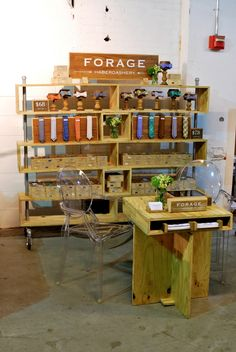 This display design is brilliant in it's simplicity.  It would be so easy to re-create. especially love the wheels. Forage Haberdashery