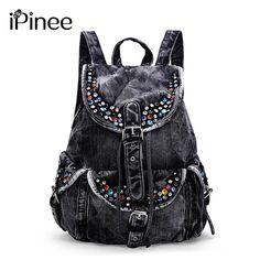 Denim Backpack Jeans Canvas Leather Rucksack City Girl Fashion Women Shoulders Back Pack