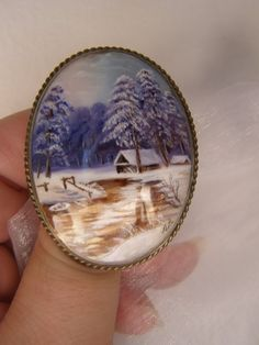 winter landscape hand made mother of pearls brooch by Mpoulitsa Painted Porcelain, Hand Painted, My Etsy Shop, Shop My, Pearl Brooch, Winter Landscape, Handmade Items, Handmade Gifts, Mother Pearl