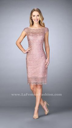 4abb8bad50f1 Beautiful beaded lace knee length dress with sheer neckline and hem Muave  Pink Mother of the · Lace Evening DressesSpring ...