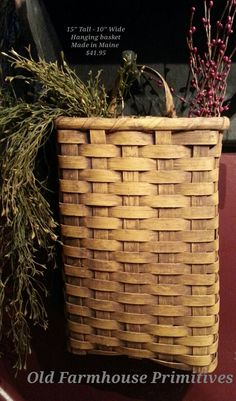 Old Farmhouse Primitives Primitive Country & Colonial Home Decor Painted Baskets, Baskets On Wall, Hanging Baskets, Wicker Baskets, Woven Baskets, Basket Weaving Patterns, Red Basket, Basket Crafts, Vintage Baskets