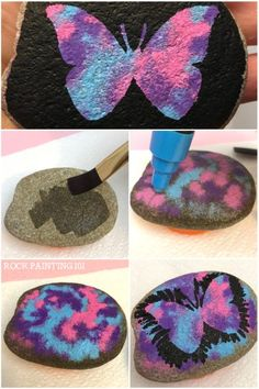 Create beautiful butterfly rocks with this simple technique. From the marbled backdrop to the perfectly symmetrical butterfly, these rock painting techniques are perfect for the beginner. #butterflyrocks #howtopaintabutterfly #howtomarbleonrocks #poscapaintpens #poscapens #howtopaintrocks #rockpaintingideas #rockpaintin101