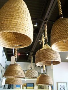 How amazing are thesehanging basket pendants?! The grouping is displayed just as you enter our shop and it is always so entertaining to see how many people don't notice them until they are o…