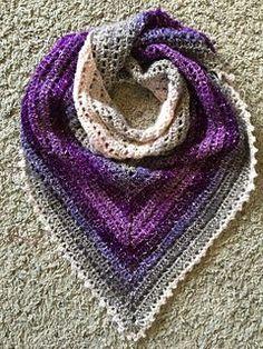Simple gradient triangle shawl/scarf. Lion brand Shawl in a ball