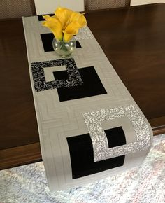 Modern Quilted Table Runner, Black White and Grey Wallhanging, Reversible Tablerunner, Modern Table Decor, Modern Quilted Table Runner by FabriArts on Etsy