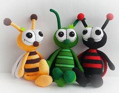 Amigurumi animals insects crochet toys Grasshopper Honey Bee Ladybug Baby shower gift Mother's day H