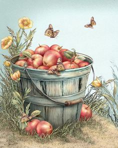 Grampa's Bushel by Beverly Levi-Parker ~ mixed media still life ~ apples ~ butterflies