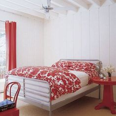 red curtains, beddings and Bedside table, white wall bedroom, beautiful design White Wall Bedroom, Decor, Bedroom Red, Red Bedroom Design, Inside Celebrity Homes, Bedroom Decor Design, Home Decor, Bedroom Furniture, Remodel Bedroom