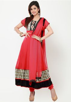 BARCODE 91 Short Sleeve Embellished Red Suit Set - Red coloured suit set for women from Barcode91. Made from brocade, it comes with a salwar, dupatta and a short-sleeved kurta featuring diamante work, embellishment and regular fit.