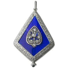Platinum Diamond Enamel Art Deco Watch Pendant, circa 1925 | From a unique collection of vintage pocket-watches at https://luigi.1stdibs.com/jewelry/watches/pocket-watches/