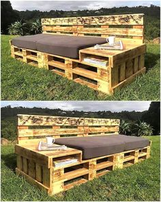 There are many ideas to create the pallet garden couch, but this one is unique because it not only fulfills the seating needs; but also allows space to store the books and other documents. There is also a table type smooth space to place the cups.