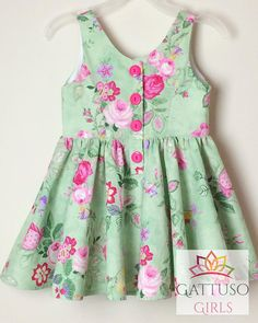 Items similar to Floral Dress for Girls ~ size 3 ~ green and pink roses, party dress, toddler dress, sleeveless dress, rose print on Etsy Baby Girl Frocks, Frocks For Girls, Little Girl Dresses, Girls Dresses, Girls Frock Design, Baby Dress Design, Kids Frocks Design, Frock Patterns, Baby Dress Patterns