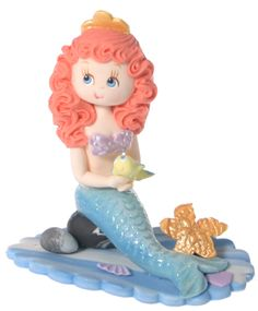 "Princess Mermaid  This handmade, cold porcelain figure will look adorable on your cake, cupcakes, as a favor or just as part of the decorations!   2 3/4""- due to the handmade nature of this product the size and style may vary."