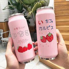 Cute Strawberry Flip-top Can Vacuum Water Bottle Korean Drinks, Japanese Drinks, Japanese Snacks, Korean Food, Japanese Food, Japanese Candy, Tout Rose, Vacuum Cup, Eat This