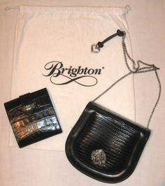 #BRIGHTON MOCK CROC #LEATHER BLACK HANDBAG #eBay #handbags #purses #bargains #mothersday #easter #free shipping! #fashionistas