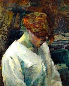 Un cuadro de Henri de Toulouse-Lautrec. La Rousse in a white blouse. 1889