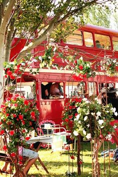 Bus turned into a place for tea. Tea Stop in Bristol, England. Its adorable.