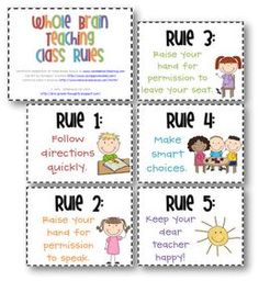 Whole Brain Teaching Rules :) I use these, they work WONDERFULLY!