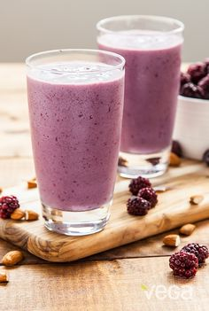 Blackberry Almond Bliss Smoothie: In the mood for a little bliss? Give this smoothie a try! Non-dairy almond yogurt, blackberries, and Vega Sport Performance Protein are blended into a creamy and satisfying smoothie — perfect for a post-workout snack! #VegaSmoothie #BestSmoothie