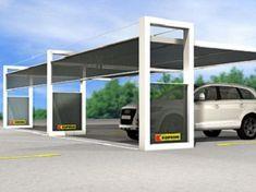 Carport aus pulverbeschichtetem Stahl K-SHELT By Kopron® Design Garage, Front Gate Design, Carport Designs, Roof Design, Pergola Carport, Deck With Pergola, Pergola Kits, Pergola Ideas, Parking Plan