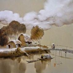 Dang Can - Vietnam Abstract Landscape, Landscape Paintings, Atelier D Art, Art Asiatique, Illustration, Modern Landscaping, Landscape Pictures, Artist Painting, Asian Art