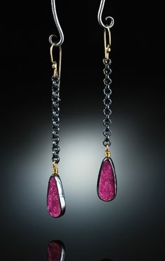 Cobalto Calcite Earrings. Fabricated Sterling Silver  14k. www.amybuettner.com https://www.facebook.com/pages/Metalsmiths-Amy-Buettner-Tucker-Glasow/101876779907812?ref=hl https://www.etsy.com/people/amybuettner
