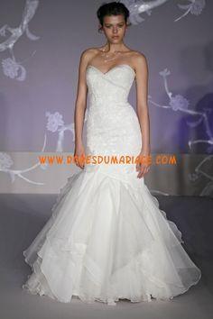 Alvina Valenta robe de mariage blanche 2012 sirène appliques organza