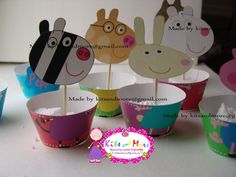 Peppa pig cupcake wrappers with toppers 9 different by KitsandMore