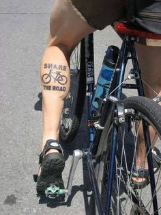 Share the Road, getting the message out there whatever way possible! Cycling Tattoo, Bicycle Tattoo, Triathlon Tattoo, Spinning, E Bicycle, Best Road Bike, Bike Drawing, Biker Tattoos, Bike Illustration