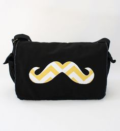 Chevron Mustache Messenger Diaper Bag. $55.00, via Etsy.