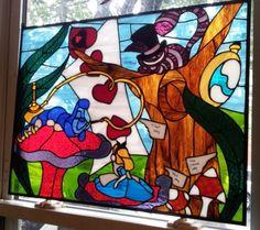 Alice in Wonderland Stained Glass Window by TerrazaStainedGlass