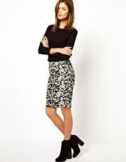 Warehouse  Jacquard Pencil Skirt
