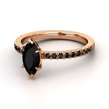 Marquise Black Onyx 14K Rose Gold Ring with Black Diamond