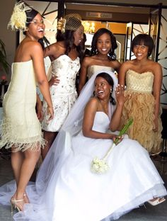 Awesome bridesmaids dresses--each different within a color range