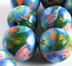 Handmade Polymer Clay Beads in Teal, Blue and Orange by bluemorningexpressions
