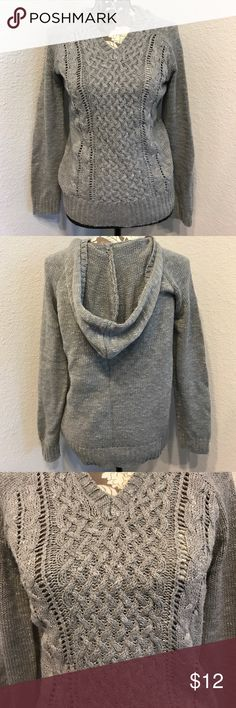Hooded Grey Sweater Cozy sweater with intricate design on the front. In brand new condition! 88% Acrylic 12% Polyester BONGO Sweaters V-Necks